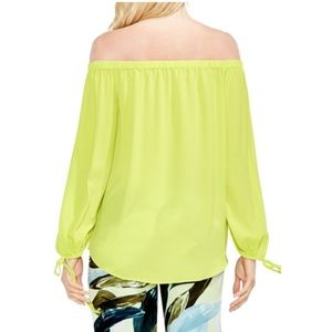 a34c9a71f98f3 Vince Camuto Tops - Vince Camuto Lime Tie-Cuff Off-the-Shoulder Blouse